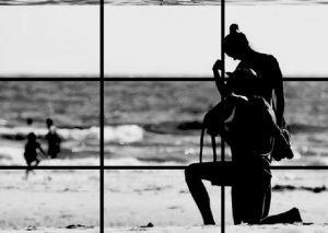 Plage noir et blanc Horizon règle des tiers Paris Kodak Express
